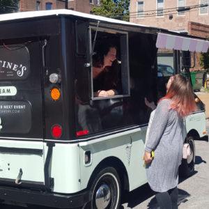 ice cream truck serving ice cream