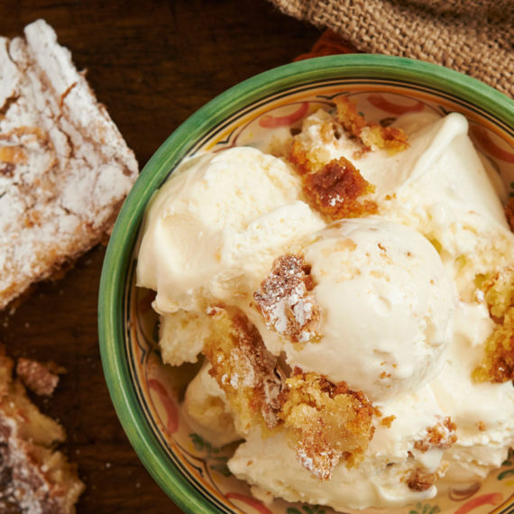 ice cream from clementines with gooey butter cake chunks