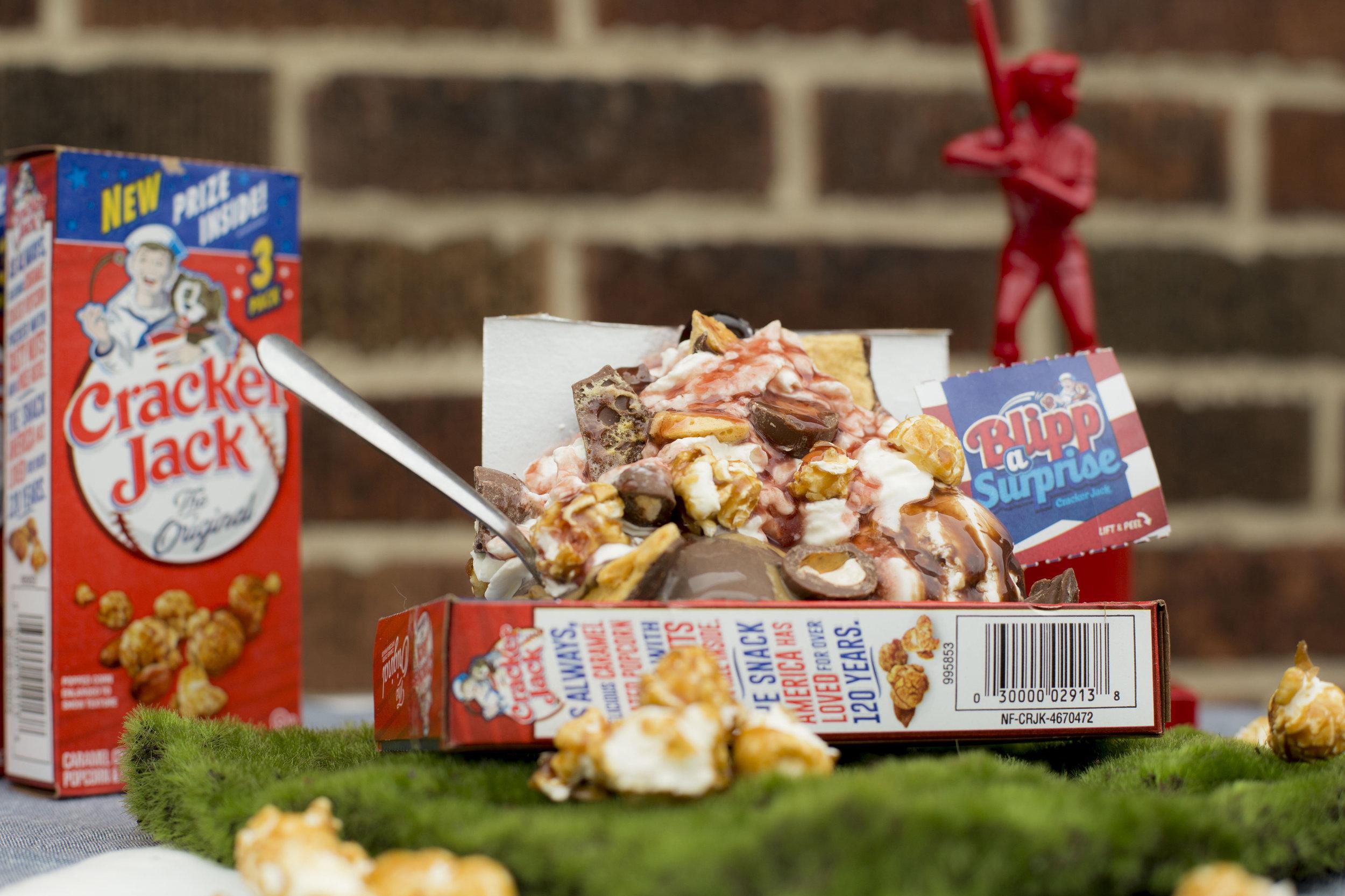 cracker jack sundae with baseball trophy in background